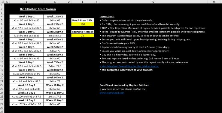 Gillingham Bench Press Program – HJP Method